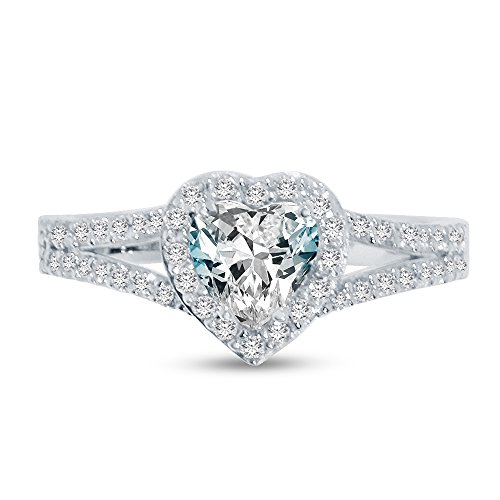 Size - 7 - Solid 925 Sterling Silver Heart Cut Split Shank Halo Solitaire Engagement Ring CZ Cubic Zirconia (1.50cttw., 1.0ct. Center) (Split Shank Engagement Ring And Wedding Band)