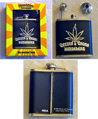 Cheech & Chong Homegrown Stainless Steel Drinking Flask With Funnel and Gift Box - NECA 2004 - Factory-Sealed UNCIRCULATED - THIS IS 1 FLASK ONLY - Slight peeling on flask,Tape Mark on Box Front