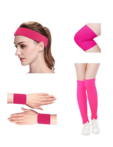 Kimberly's Knit Women 80s Neon Pink Running Headband Wristbands Leg Warmers Set (Free, zohotpink)