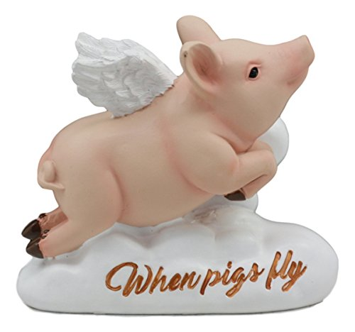 Ebros When Pigs Fly Hog Heavens Flying Pig with Angel Wings On Cloud 9 Statue 4