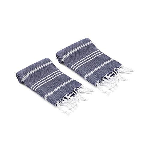 - Olive&Linen Bodrum Turkish Hand/Kitchen Towel Set of 2 (Navy)