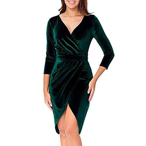 - BODOAO Women's Sexy V Neck 3/4 Sleeve Velvet Bodycon Wrap Dress for Wedding Guest Club Wrap Dress