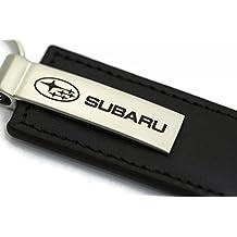 Subaru Leather Key Chain Black Rectangular Key Ring Fob Lanyard WRX