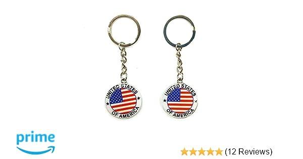 12pcs NYC US United States of America Keychain Metal Key Ring Star Stripe US Flag Souvenir Patriotic Christmas Gift