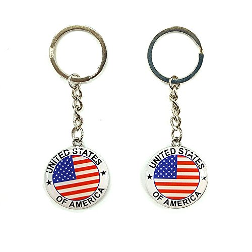 Keychain Patriotic Star - 12pcs NYC US United States of America Keychain Metal Key Ring Star Stripe US Flag Souvenir Patriotic Christmas Gift