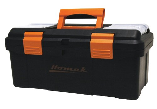 (Homak 16-Inch Plastic Tool Box with Tray and Dividers, Black, BK00116004)