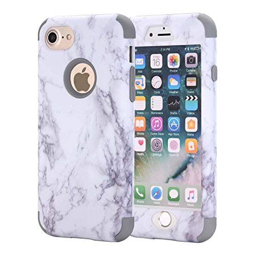 iPhone 7 Plus Case, AOKER [Marble Design] Slim Dual Layer Anti-Scratch &Fingerprint ShockProof Clear Bumper Matte TPU Soft Rubber Silicone Protective Case Fit for Apple iPhone 7 Plus (Grey)