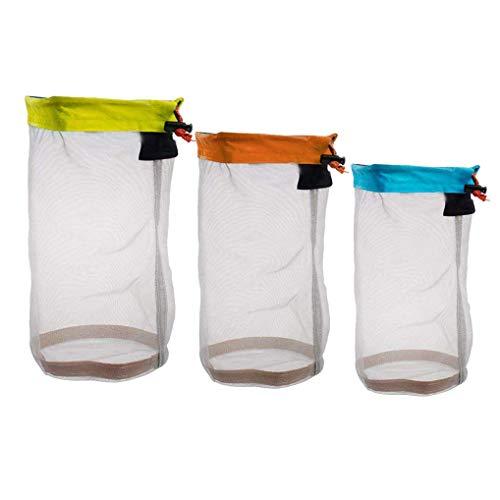 (Yiotfandoll Nylon Mesh Stuff Sack Drawstring Storage Bag for Camping Travelling Hiking Bag Set of 3)