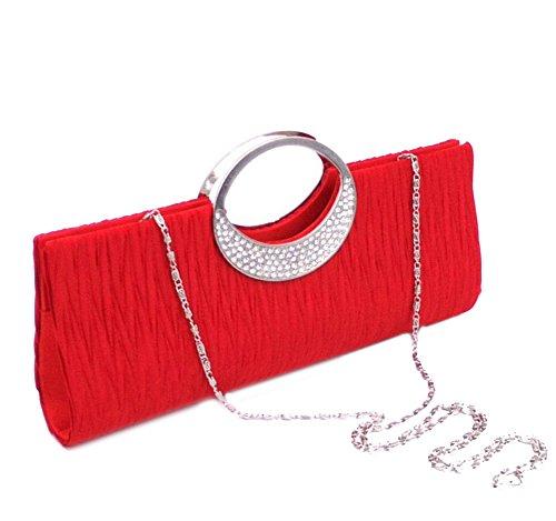 Sac Fête d'embrayage Strass Bandoulière de de rouge Sac Femmes Classique Soirée Mariage qp0vUZqw
