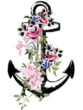 Inkwear Vintage Anchor Temporary Tattoo Premium Quality Die Cut Transfer