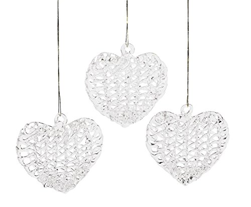 24 Spun Glass Heart Ornament Set Christmas Gift Topper Tree Wedding Favor Lot