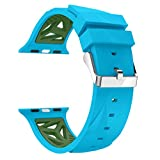Silicone Band for Apple Watch 4/3/2/1, Lovewe New Fashion Sports Silicone Bracelet Strap Band For Apple iWatch Series 4 3 2 1 42/44mm 38/40mm For Women Men (Blue, 38/40mm)