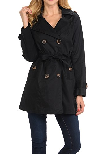 Auliné Collection Women's Fashion Double Breasted Trench Coat Jacket with Belt Black ()