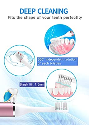 FLEXFORCE Electric Toothbrush for Adults, Rechargeable Toothbrush with 3 Modes and 2 Replacement Heads