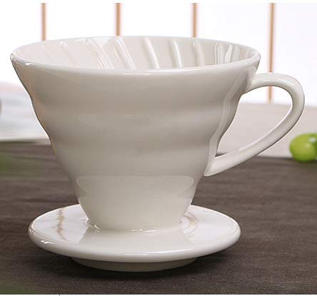 (Coffee Drip Filter Cup - Ceramic Coffee Dripper Engine V60 Style Coffee Drip Filter Cup Permanent Pour Over Coffee Maker with Separate Stand for 1-4 Cups - Coffee Tool Tools Leveler Mug)