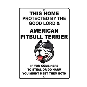 9Ginkgo& New Tin Sign Retro American Pitbull Terrier Dog Home Protected by Good Lord Sign Metal Tin Sign for Men, Women, Unisex 8 X 12 Inch 9