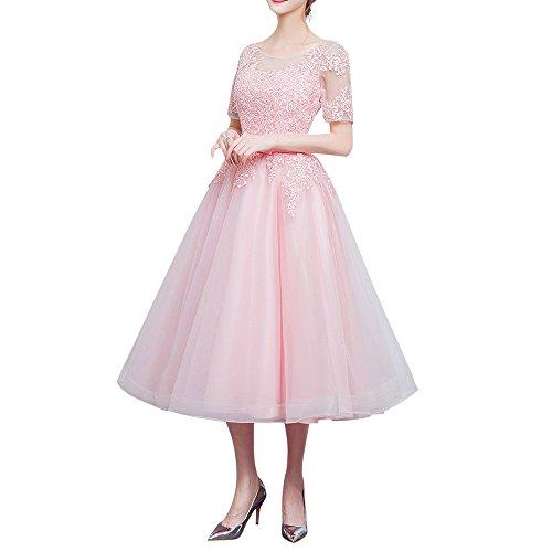 Spitze Partykleider Tuell Minze La Abschlussballkleider Knielang Abendkleider Braut Marie Rosa Gruen Kurzarm wAcycpIFq