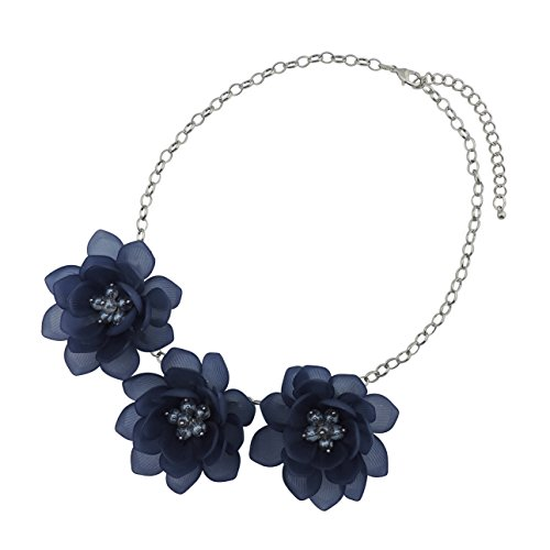 Bocar Bib Statement Pendant Flower Necklace for Women (NK-10372-dark blue)