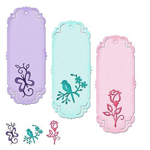 (Cutting Dies - Flower Bird Butterfly Bookmark Craft Dies Metal Steel Cutting Embossing Paper Cards Decorative Die - Stencil Star Making Round Die You Geometric Pollyhb Bows Letters)