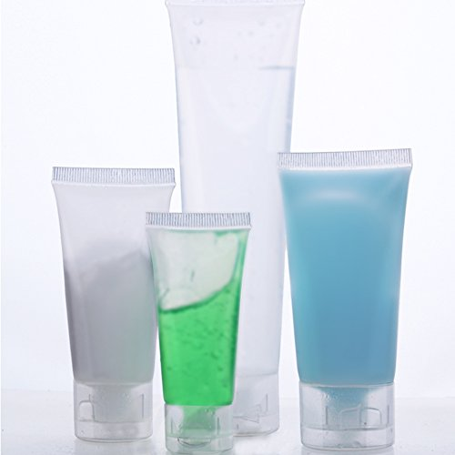 Gracefulvara 4Pcs/Set Squeeze Empty Plastic Tubes Cosmetic Cream Lotion Travel Bottle 20ml&30ml&50ml&100ml, Smooth Bottle Plastic Squeeze Tubes