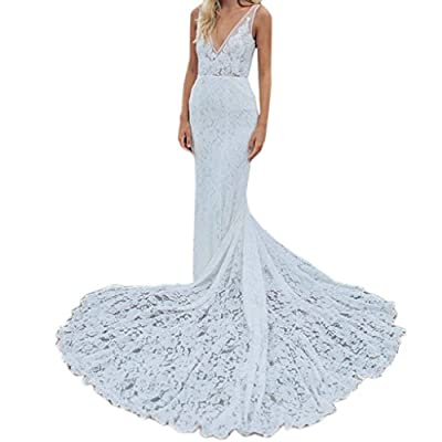 Dressyu Lace Mermaid Garden Wedding Dresses Pocket Rustic Country Bridal Gowns