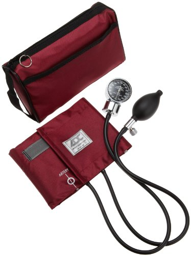 ADC Diagnostix 778 Pocket Aneroid Sphygmomanometer with Adcuff Nylon Blood Pressure Cuff, Adult, and Carrying Case, Burgundy