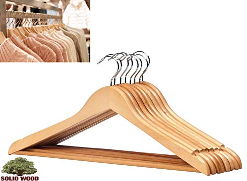 - LavoHome Natural Wood Coat Suit Hangers with Non Slip Bar & Swivel Chrome Hook (Solid High Grade Maple 20 Pack)