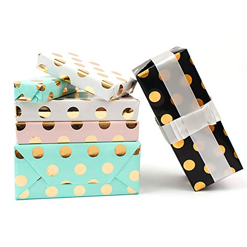 (4 Roll Colorful Gift Wrapping Paper for Birthday, Bridal - Pink/Green/White/Black (Gold foil Polka dots))