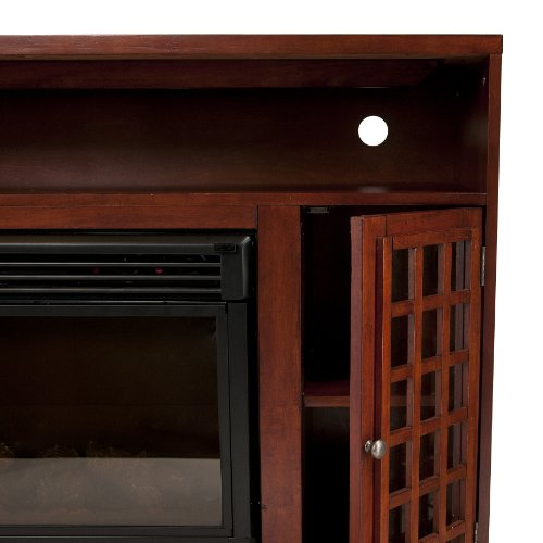 SEI Narita Media Console with Electric Fireplace, Mahogany