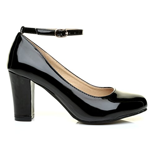 Zara Black Patent Block Heel Ankle Strap Round Toe Court Shoes i8RsqRX