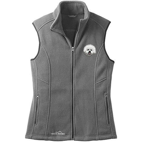 Cherrybrook Dog Breed Embroidered Womens Eddie Bauer Fleece Vest - Large - Gray Steel - Bichon Frise (Bichon Frise Vest)