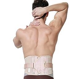 Back Brace for Men - ULTRA LIGHT & Breathable Fabric for Exercise - Adjustable Compression - Lower Back Belt Pain Relief - NEOtech Care (TM) Brand - Black Color - Size M