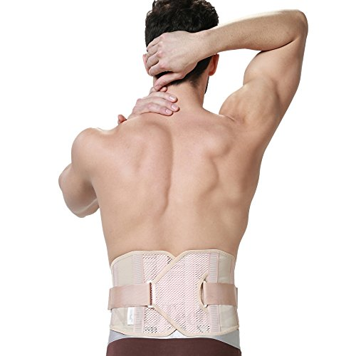 Back Brace for Men - Ultra Light & Breathable Fabric for Exercise - Adjustable Compression - Lower Back Belt Pain Relief - Neotech Care Brand - Beige Color - Size XXL