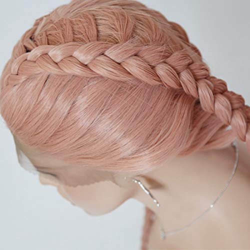 Kirabon Front Lace Wig Women's European And American Long Straight Hair Pink Chemical Fiber Hair Scorpion Dirty Wig (Size : 22 ()
