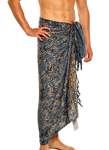1 World Sarong Mens Floral Tiny Leaves Sarong in Slate ()