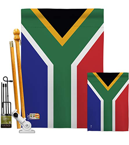 Americana Home & Garden FK140218-BO South Africa World Nationality Decorative Vertical Flags Kit, House & Garden Set w/Flagpole, Multi-Color (South Africa Patio Set)