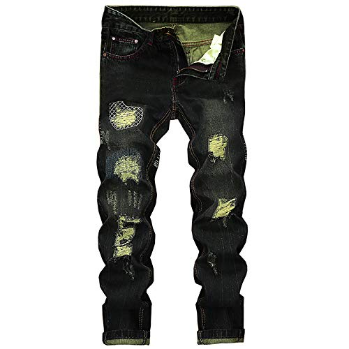 - Creazrise Men's Ripped Distressed Destroyed Straight Fit Washed Denim Jeans (Green,XL)