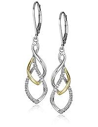 Sterling Silver and 14K Yellow Tear Drop Design Diamond Earrings