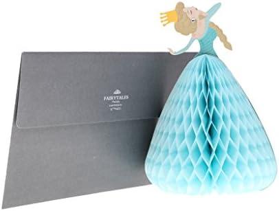 バレンタイン/BDAY/ブライダルシャワー用 プリンセス 3Dハニカム 赤グリーティングカード 3色 - 水色