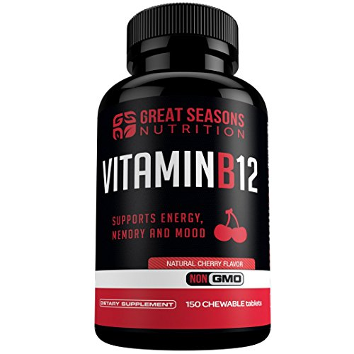 Vitamin B12 Methylcobalamin 1000mcg, 150 Chewable Tablets - Energy Booster, Cardiovascular Support, Digestive System Support, Boosts Metabolism by Great Seasons Nutrition