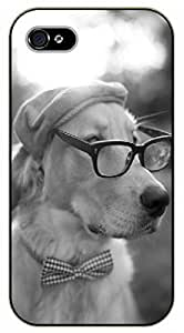 iPhone 5 / 5s Hipster dog wearing hat, tie and glasses - black plastic case / dog, animals, dogs