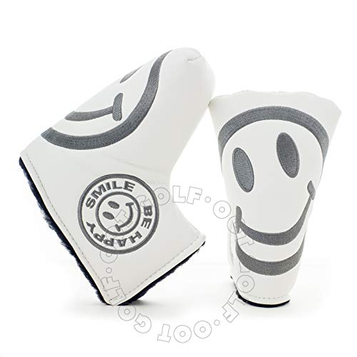 - 19th Hole Custom Shop Smile Face Golf Headcover for Blade and Midsize Mallet Putter, White, Head Cover