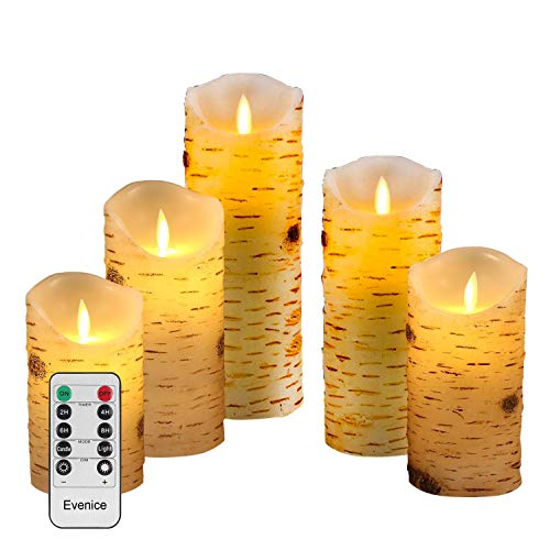 Evenice Flameless Candles Flickering Light Pillar Candles Real Smooth Wax for Gifts and Decoration (Birch Bark) ...