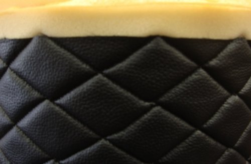 (Black Quilted Vinyl Fabric with 3/8