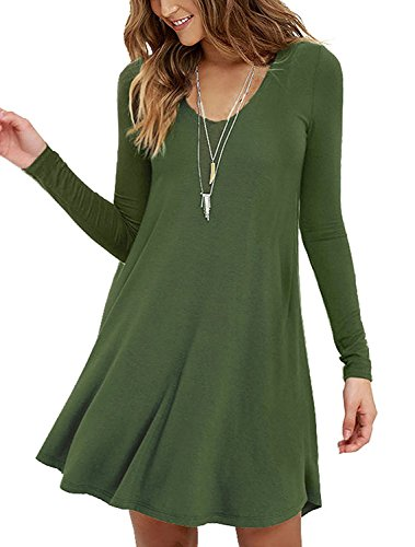 Viishow Women's Long Sleeves Casual Swing Simple T-Shirt Loose Dress (M, Long Sleeve Army Green) (Long Sleeve Long Jersey Extra)
