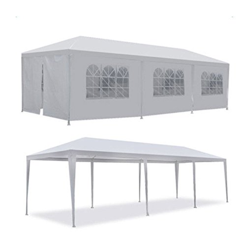 Heavy Duty Outdoor Party Wedding Tent Canopy Gazebo Carport Storage Shelter Pavilion Multiple Choices (White, 10X30) (8 sidewalls) Review