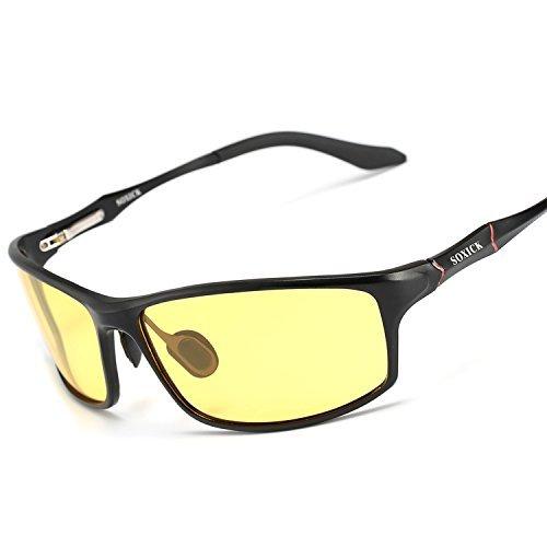 Soxick Night Driving Glasses Polarized Anti glare Rain Day Safe Night Vision Glasses, Black Frame,...