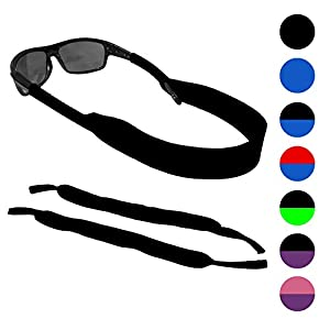 Sunglasses and Glasses Floating Safety Strap - 2 Pack | Anti-Slip and Fast Drying Sport Glasses Retainer Strap | BLACK