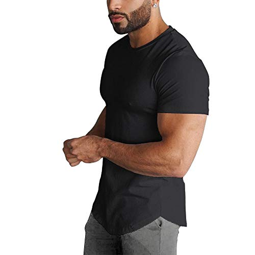 (GymRevolution Men's Super Longline Curved Hem Short Sleeved Crew Neck Relaxed Fit T-Shirt Black L)