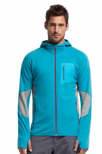 Aegean Heather - Icebreaker Men's Atom Long Sleeve Zip Hood, Aegean/Metro Heather, Medium